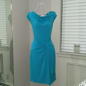 Turquoise ruched dress
